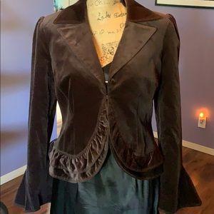 Laundry Shelli Segal brown cotton velvet blazer 12
